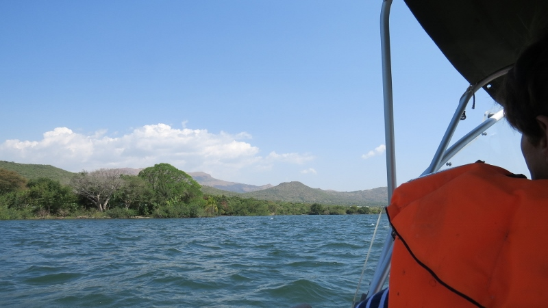 Sailing to Sindo past the volcanic Gembe Hill