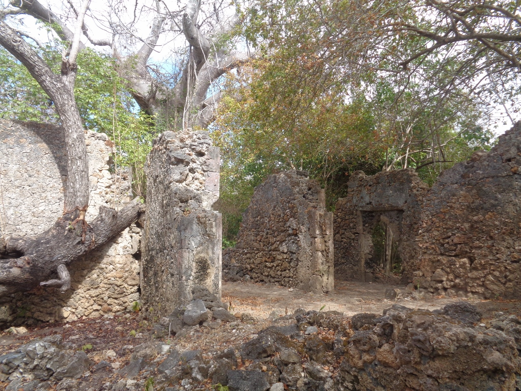 The centuries-old ruins on Kirepwe Island near on Mida Creek, Watamu of a sultanate that once was