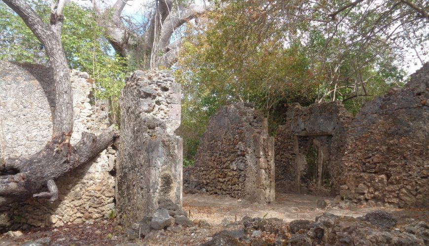 The centuries-old ruins on Kirepwe Island near on Mida Creek, Watamu of a sultanate that once was