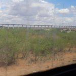The 70m wide bridge of the standard gauge railway passing through Tsavo East National Park
