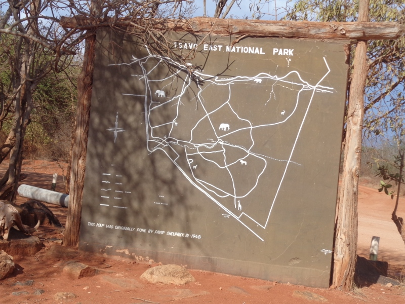 Map of Tsavo East drawn by David Sheldrick - first warden of the park in 1948
