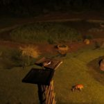Nightlife at Serena Mountain Lodge at the waterhole - the genet comes out to eat on it high perch