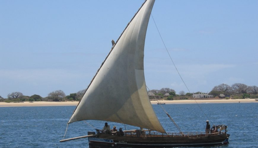 Traditonal dhow asail on Lamu seafront, Kenya coast. Picture courtesy Dipesh Pabari