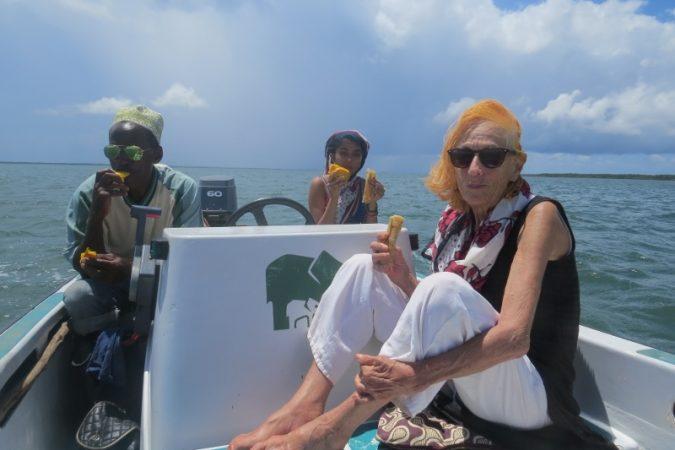 Captain Lalli, of Kenya Wildlife Service Maya Mangat and Kiki Aarts of Subira House Lamu - picnic at sea sailing to Pate island Copyright Maya Mangat