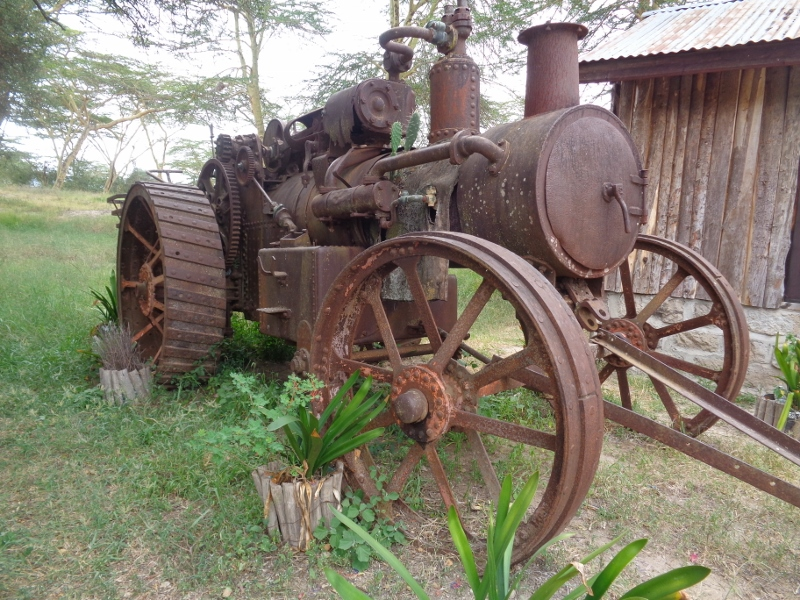 Tractor parked at Swara Plains Acacia Camp outside Nairobi - it's more than 50 years old. Copyright Rupi Mangat