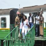 Guests arrive on Rift Valley Railways train at African Heritage House to launch Google's world wide celebrations of Arts&Culture with the African Heritage Collections at African Heritage House, Athi Plains, Kenya.