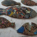 Fish - recycled from drift wood, pieces of dhows or rubber slippers art galllery on Lamu Stone Town on Lamu island Photo: Maya Mangat