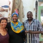 Inside Fish art gallery with artist-owner Isaiah Chepyator and Lamu's first women carver Hafsa Ahmed Photo: Maya Mangat