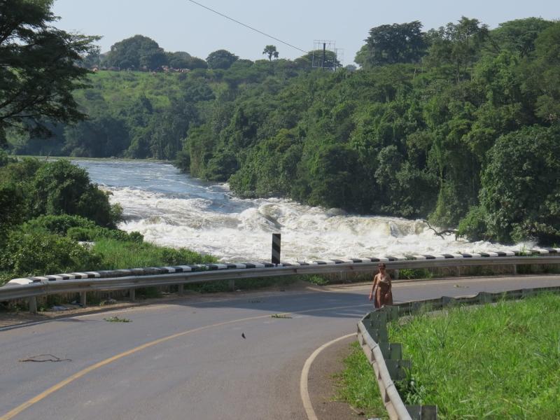Walking across Karuma Bridge on the Nile near Murchison Falls Copyright Rupi Mangat