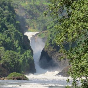 Zooming in to Murchison Falls from the boat Copyright Rupi Mangat