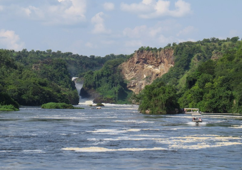 The first sight of Murchison Falls from the boat Copyright Rupi Mangat
