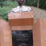 Bust of Mahatma Gandhi the universal figure of non-violence and human rights - he wished for some of his ashes to be scattered in the Nile - at the source of the Nile Copyright: Rupi Mangat