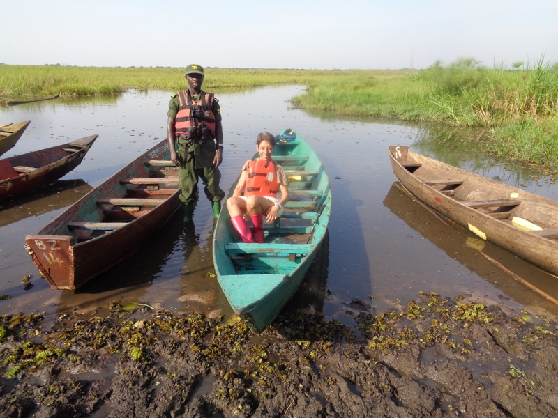 Ready for a sail on community land by Ziwa Rhino Sanctuary in search of srhoebill storks and more. Copyright Rupi Mangat