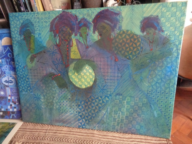 """""""The Birth"""" , a work on canvas with acyllic, by Nike Seven Seven Okundaye, one of Africa's most famous artists with one of the largest galleries on the continent in Lagos, Nigeria. This works depicts the beating of Talking drums and celebrations for the birth of a child. Picture by Rupi Mangat"""