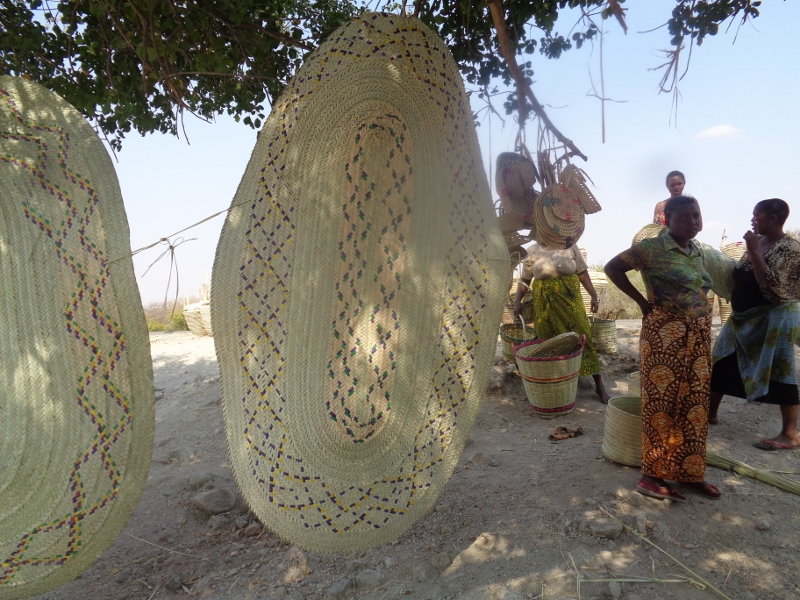 Local women's self-help group near Randilen WMA in Tanzania selling makekas (mats) they weave for income-generation. Picture: Galib Mangat