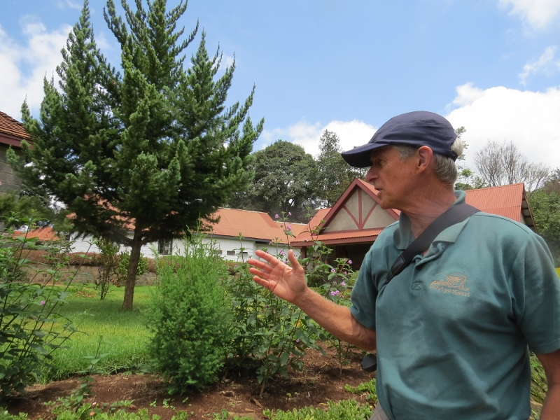 Mark Nicholson talking about the Malawian national tree, Mulanje cedar (Widdringtonia whytei) that will be gone in ten years if their habitats are not protected (taller tree) and the shorter Juniperus procera or African pencil cedar (shorter tree).  Copyright Rupi Mangat