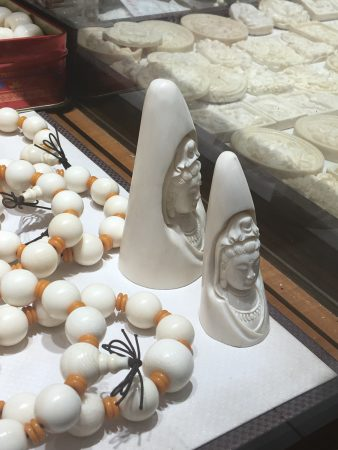 Much of the ivory smuggled by criminal syndicates from Africa is processed into Buddhist items such as rosaries and figures of Gwan Yin - the Goddess of compassion, for Chinese customers Copyright Lucy Vigne