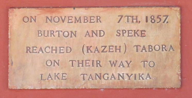 Plaque at Livingstone's house in Kazeh - Burton and Speke had stayed here 13 years before Livingstone - in search of the Nile's source - they had heard from the Arabs of a big lake in the interior that they thought could be the Nile's source. Copyright Rupi Mangat