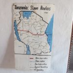 Inside Livingstone's house in Kazeh in 1870s - Map of the slave routes Copyright Rupi Mangat