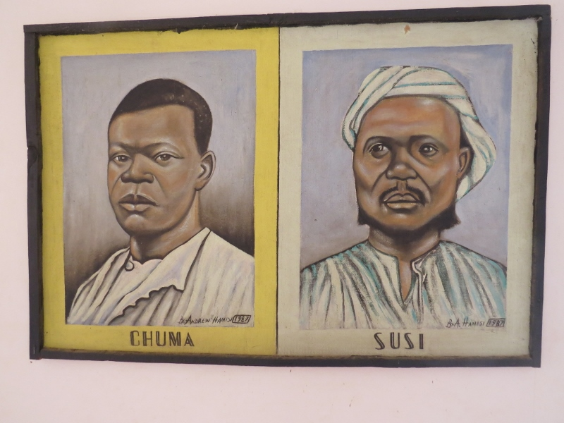 Inside Livingstone Museum - images of Chuma and Susi - Livingstone's die-hard companions. They attended Livingsone's .burial at Westminister Abbey in London as guests of the Queen. Copyright Rupi Mangat
