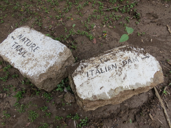 Sign to 'Italian Dam' on Mount Kenya Eco-Resource Centre nature trail near Naro Moru - copyright Rupi Mangat