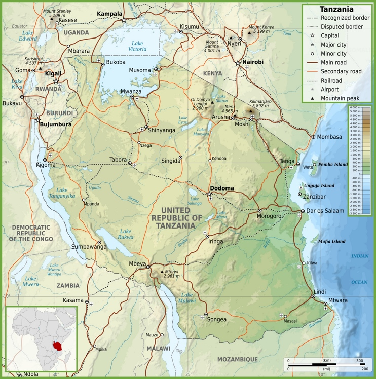 Road map of Tanzania - trace our journey from Nairobi via Arusha to Tabora and then L.Tanganyika