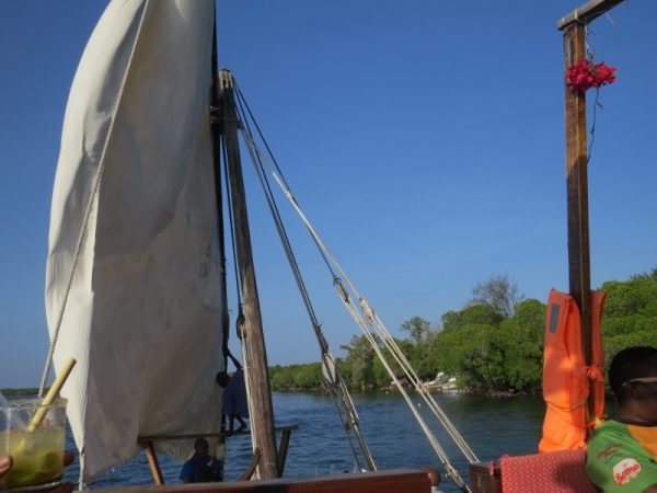 On the dhow sailing in Mida Creek - Copyright Rupi Mangat