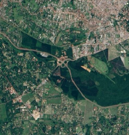 Satellite picture of Ngong Road Forest which used to be one large fores but is now in five patches.