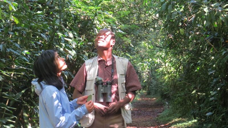 Maya Mangat and Timothy Achevi in Kakamega Forest. Copyright Maya Mangat for 23 Feb 2019 (800x450)