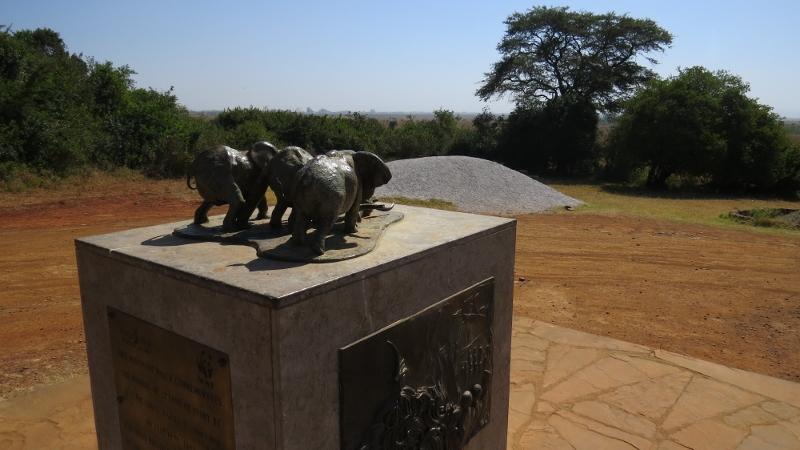 Statue at ivory burn site in Nairobi National Park February 2019. Copyright Rupi Mangat (800x450)