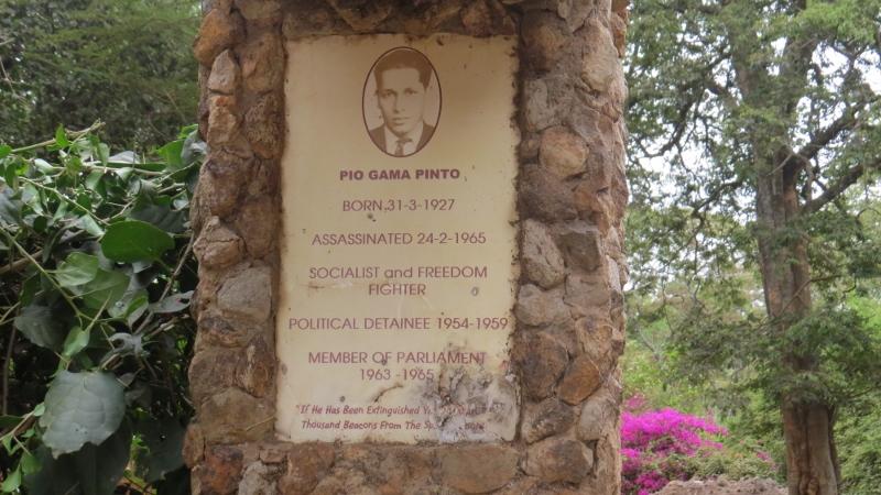 Pio Gama Pinto sign at Murumbi Reace Momorial Garden at Nairobi City Park. Copyright Rupi Mangat Feb 2019 (800x450)