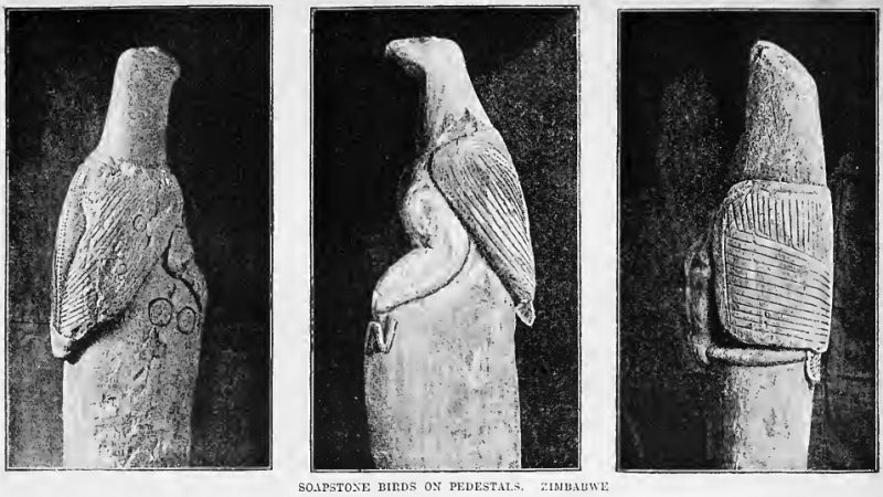 Soapstone birds on pedestals by James Theodore Bent