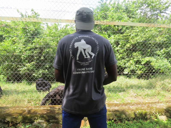 Espoir the guide at Lwiro Primate Rehabilitation Center. Copyright Rupi Mangat. (800x600)