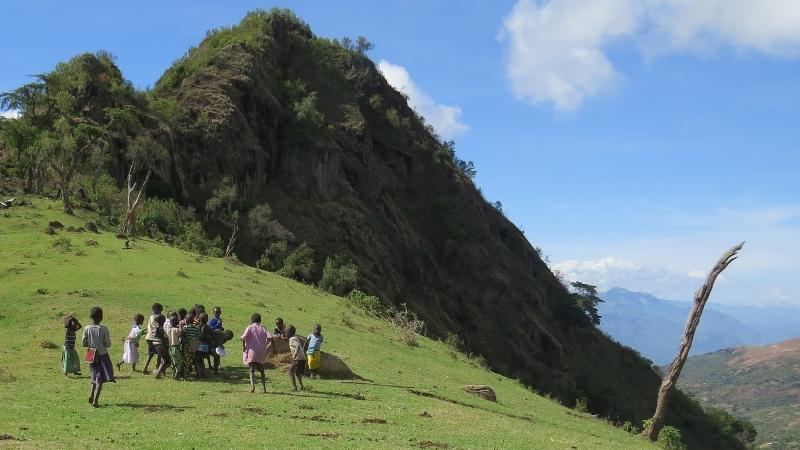 Pokot kids playing football on the ridge of Sekerr Hills . Copyright Rupi Mangat (2) (800x450)