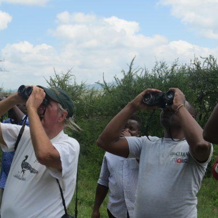 Brian Finch and Peter Mureithi of Nature Kenya at Lukenya. Copyright Rupi Mangat one time use only (800x800)