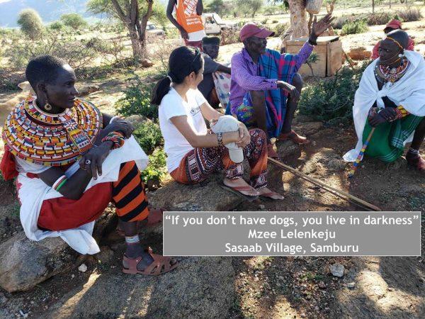 Shivani Bhalls founder of Ewaso Lions at Westgate Conservancy, Samburu with Samburu women and elders. Facebook: EwasoLions