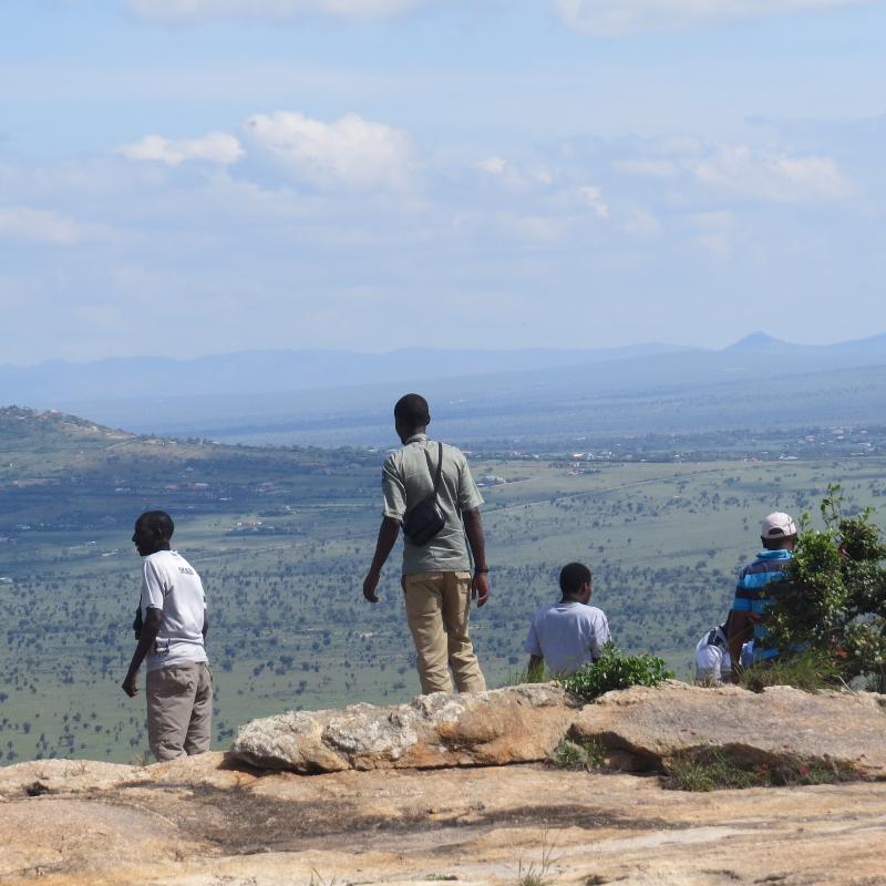 Nature Kenya members birding on Lukenya overloking the plains. Copyright Rupi Mangat one time use only (800x800)