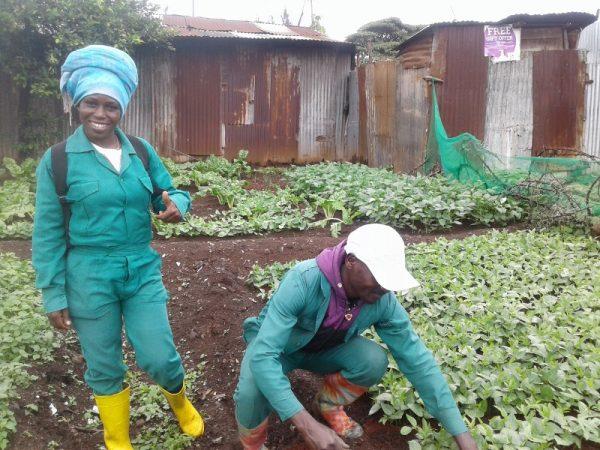 Debora Ogollah and Daniel Ndungu in the vegetable polt to feed the kids in Korogocho slum, Nairobi. Copyright Rupi Mangat (800x600)