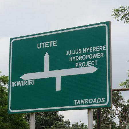 Sign to Julius Nyerere Hydro Power project near Nterere National Park former Selous Tanzania. Copyright Rupi Mangat (800x800)