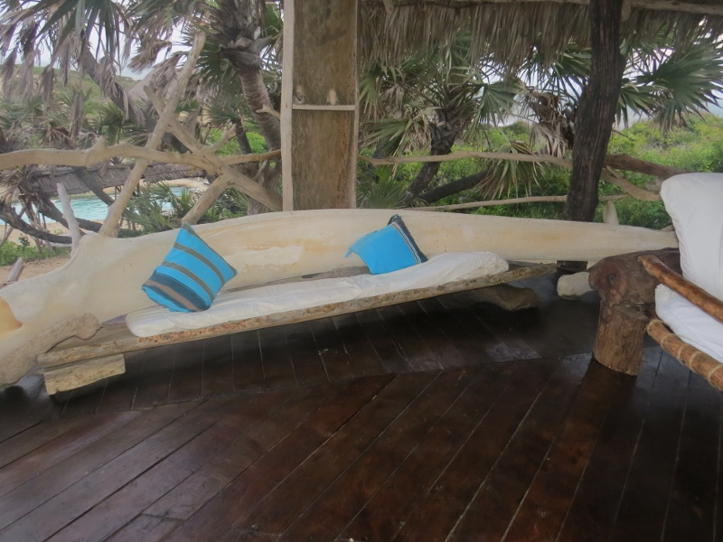 Whale rib turned into a seat at Delta Dunes. Copright Rupi Mangat. One time use only (800x600)