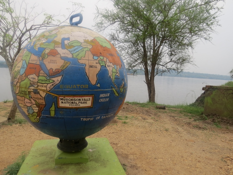 The enormous metal globe pointing at Murchison falls National Park by the ferrycrosing . Ccopyright Rupi Mangat (800x600)